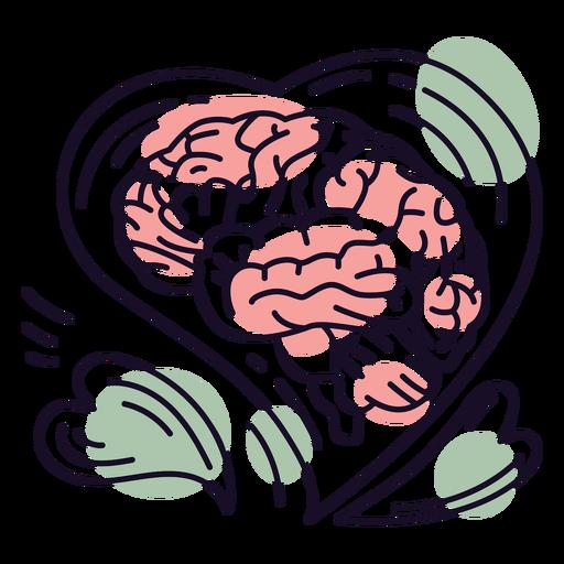 Brain hearts color stroke