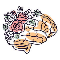 Brain and flowers color stroke