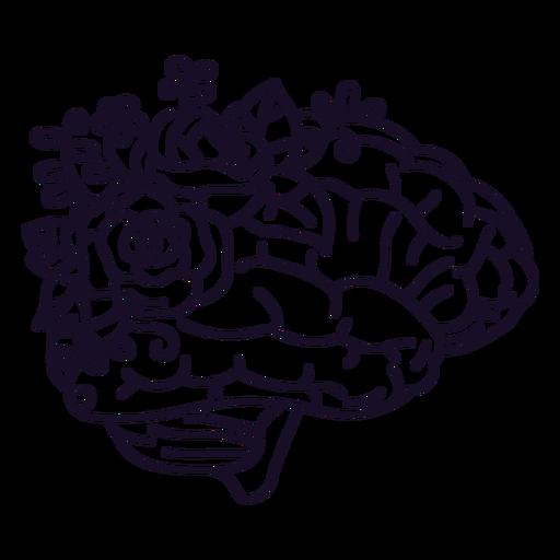 Brain and flowers stroke