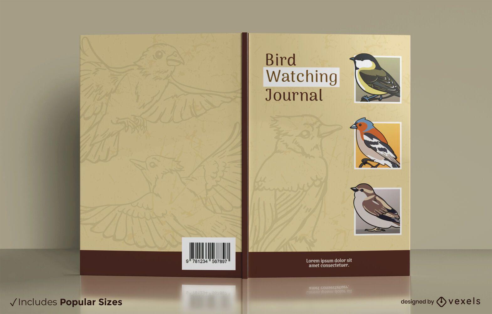 Diseño de portada de revista de observación de aves.