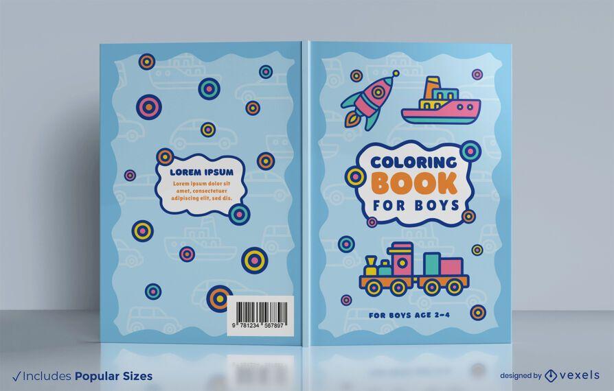 Diseño de portada de libro para colorear de juguetes de vehículos