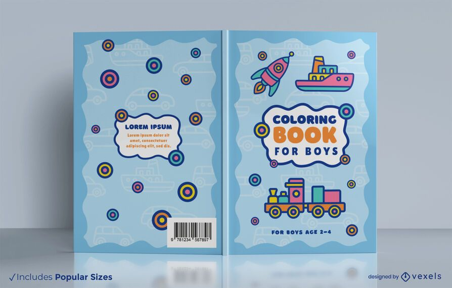 Vehicle toys coloring book cover design