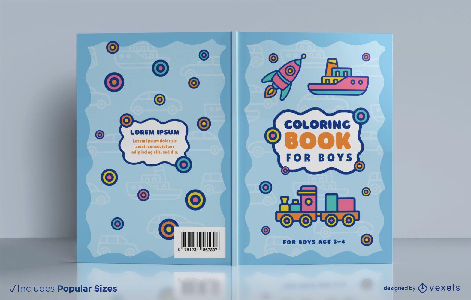 Design de capa de livro para colorir de brinquedos para veículos