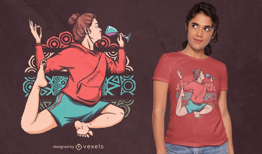 Chica en diseño de camiseta de pose de vino de yoga