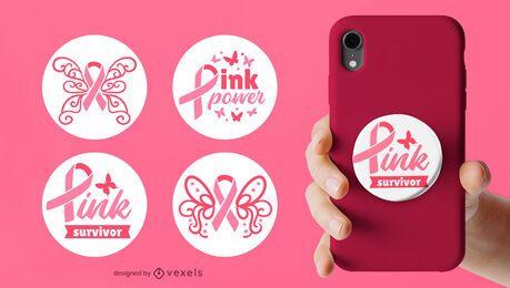 Conjunto popsocket para conscientização do câncer de mama