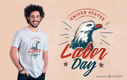 Diseño de camiseta águila del día del trabajo