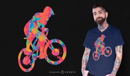Colorful cyclist psychedelic t-shirt design