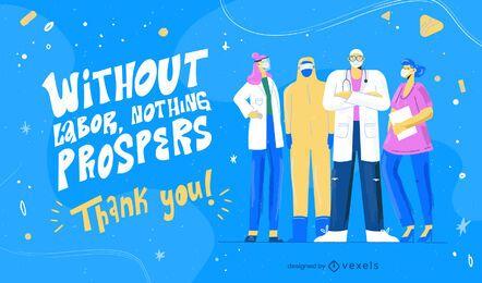 Ilustração de citação de trabalhadores de saúde do dia do trabalho