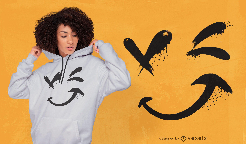 Diseño de camiseta de guiño de cara sonriente