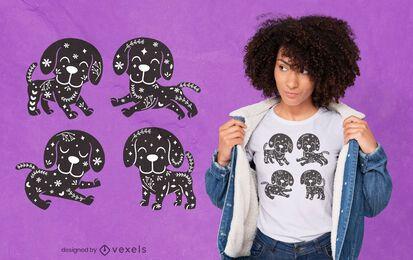 Diseño de camiseta bohemia de perros lindos