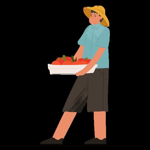 Man carrying oranges semi flat