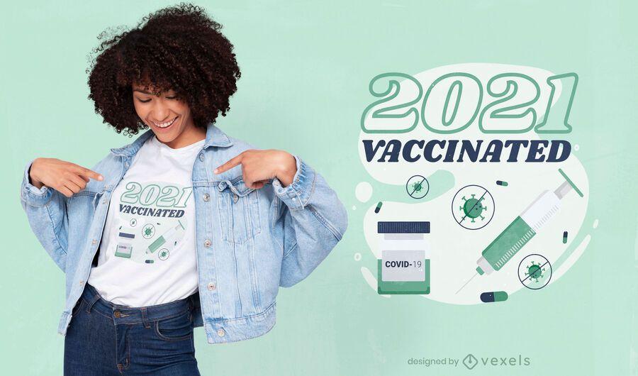 2021 diseño de camiseta vacunado
