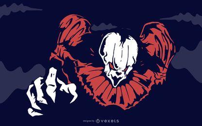 Es gruseliger blutiger Clown