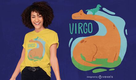 Dinosaur zodiac sign virgo t-shirt design
