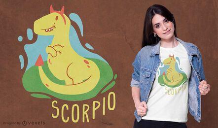 Diseño de camiseta de dinosaurio signo del zodiaco escorpio