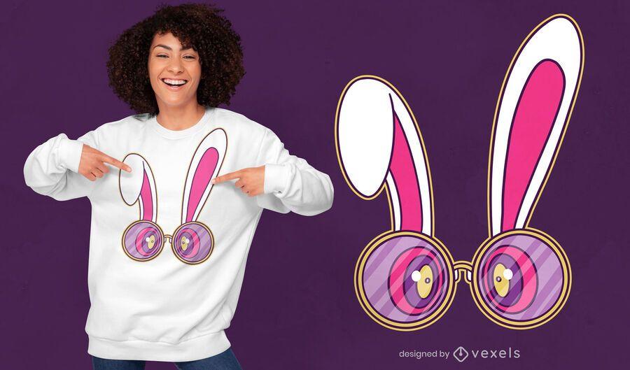 Diseño de camiseta de gafas de conejo trippy.