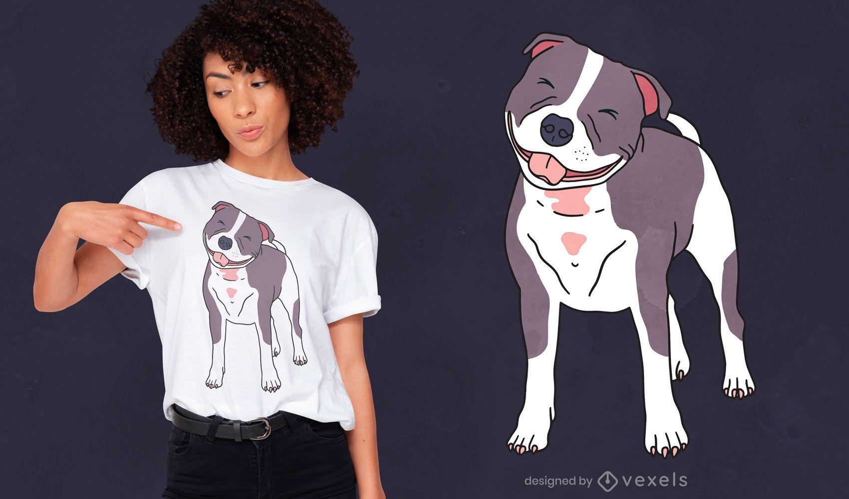 Diseño de camiseta de perro bull terrier feliz