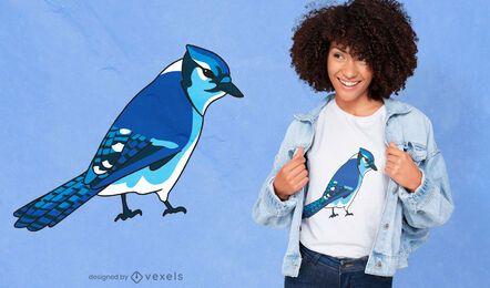 Diseño de camiseta de especies de aves de arrendajo azul
