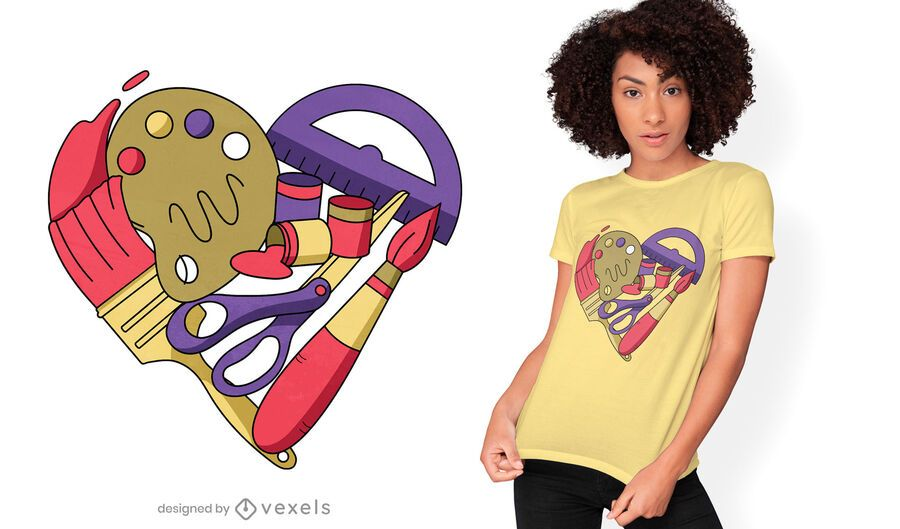 Diseño de camiseta de corazón de suministros de arte.