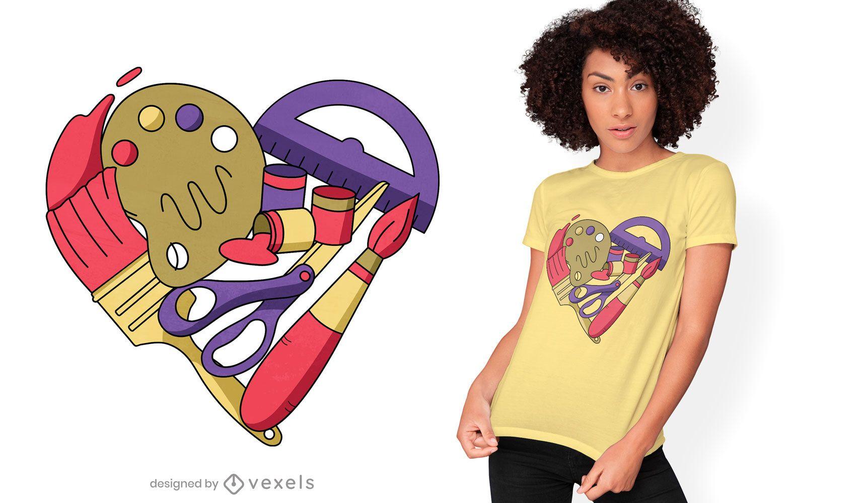 Art supplies heart t-shirt design