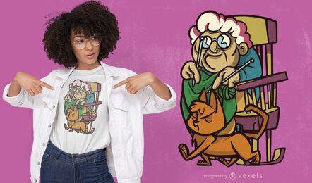 Abuela tejiendo con diseño de camiseta de gato.
