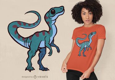 Design fofo de camiseta de dinossauro Compsognathus