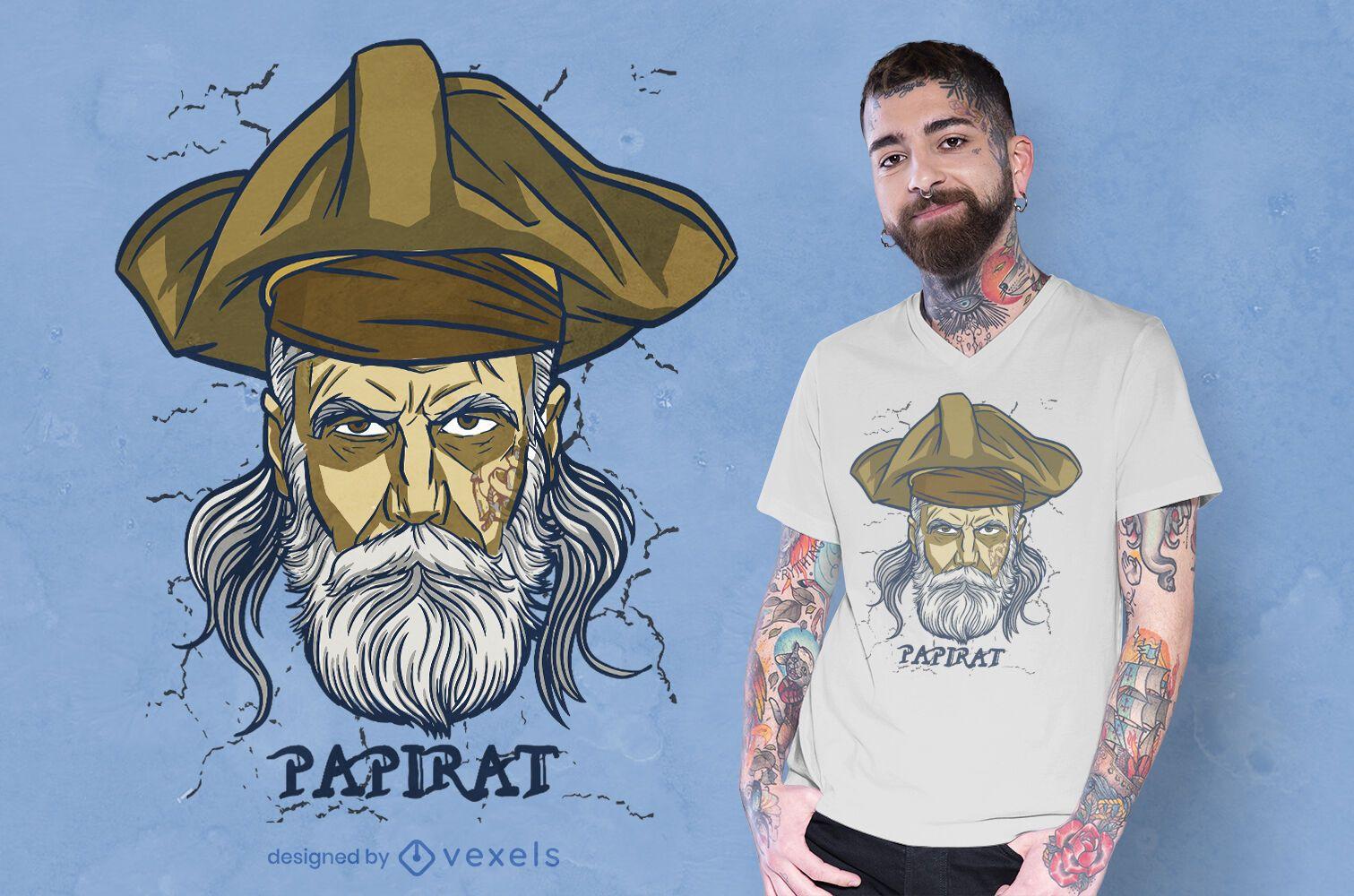 Design de t-shirt alemão com jogo de palavras do pai pirata
