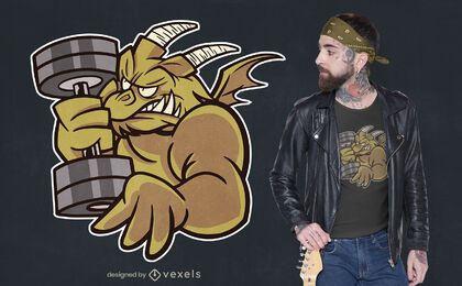 Desenho de camiseta de dragão de halterofilismo