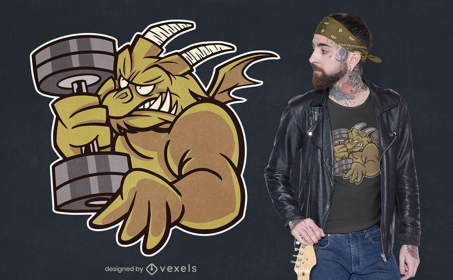 Diseño de camiseta de dibujos animados de dragón de levantamiento de pesas