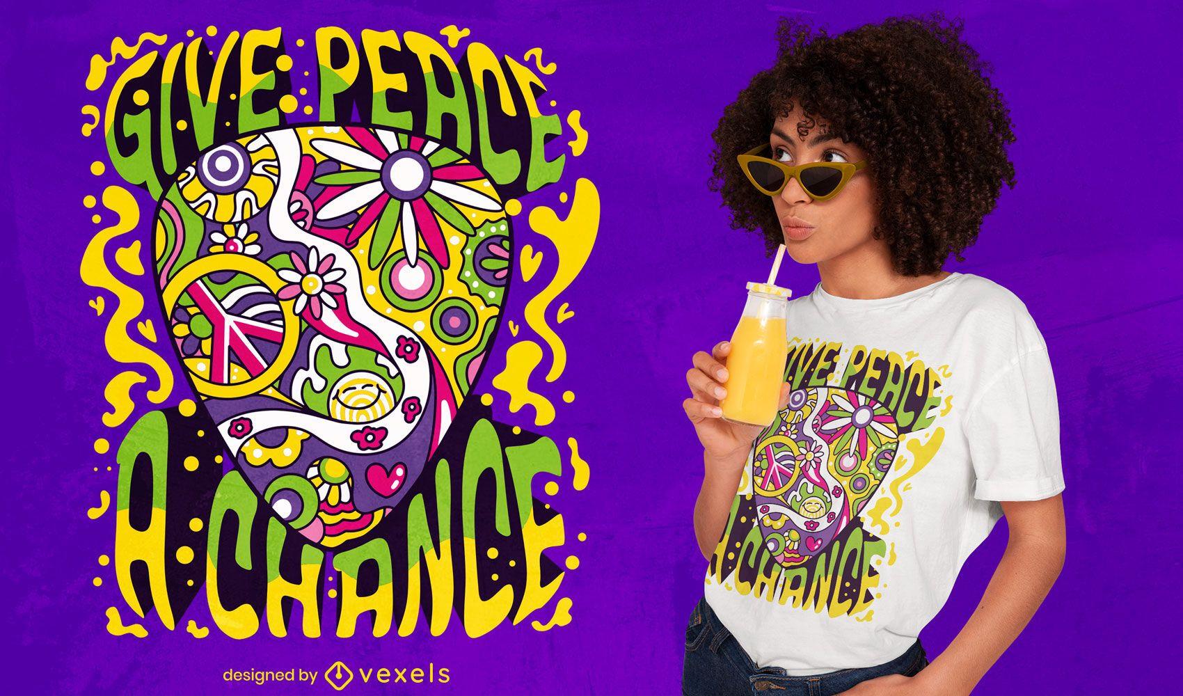 Diseño de camiseta de púa de guitarra hippie