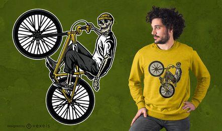 Design de camiseta com esqueleto de bicicleta BMX
