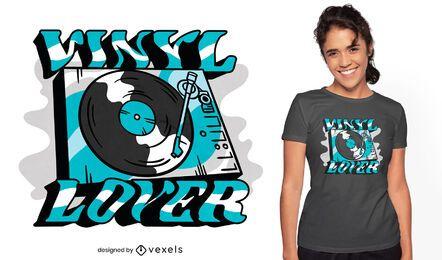 Diseño de camiseta de cita de tocadiscos de vinilo