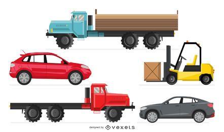Carretilla elevadora, camión y coche