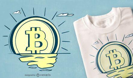 Design retro de t-shirt bitcoin amanhecer