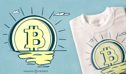 Retro bitcoin sunrise t-shirt design
