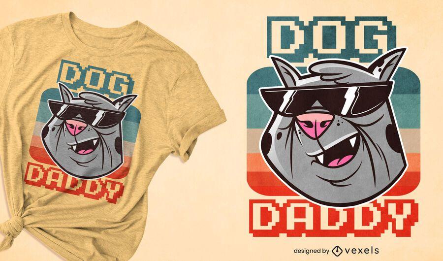 Diseño divertido de la camiseta del papá del perro