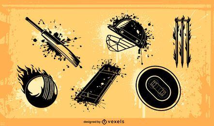 Grunge-Set für Cricket-Sportgeräte