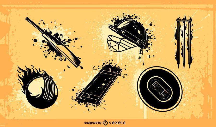 Cricket sport equipment grunge set
