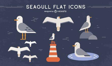 Conjunto de animais com asas de pássaro gaivota
