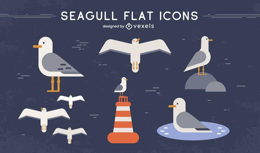 Seagull bird winged animal set