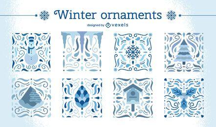 Conjunto de enfeites de inverno