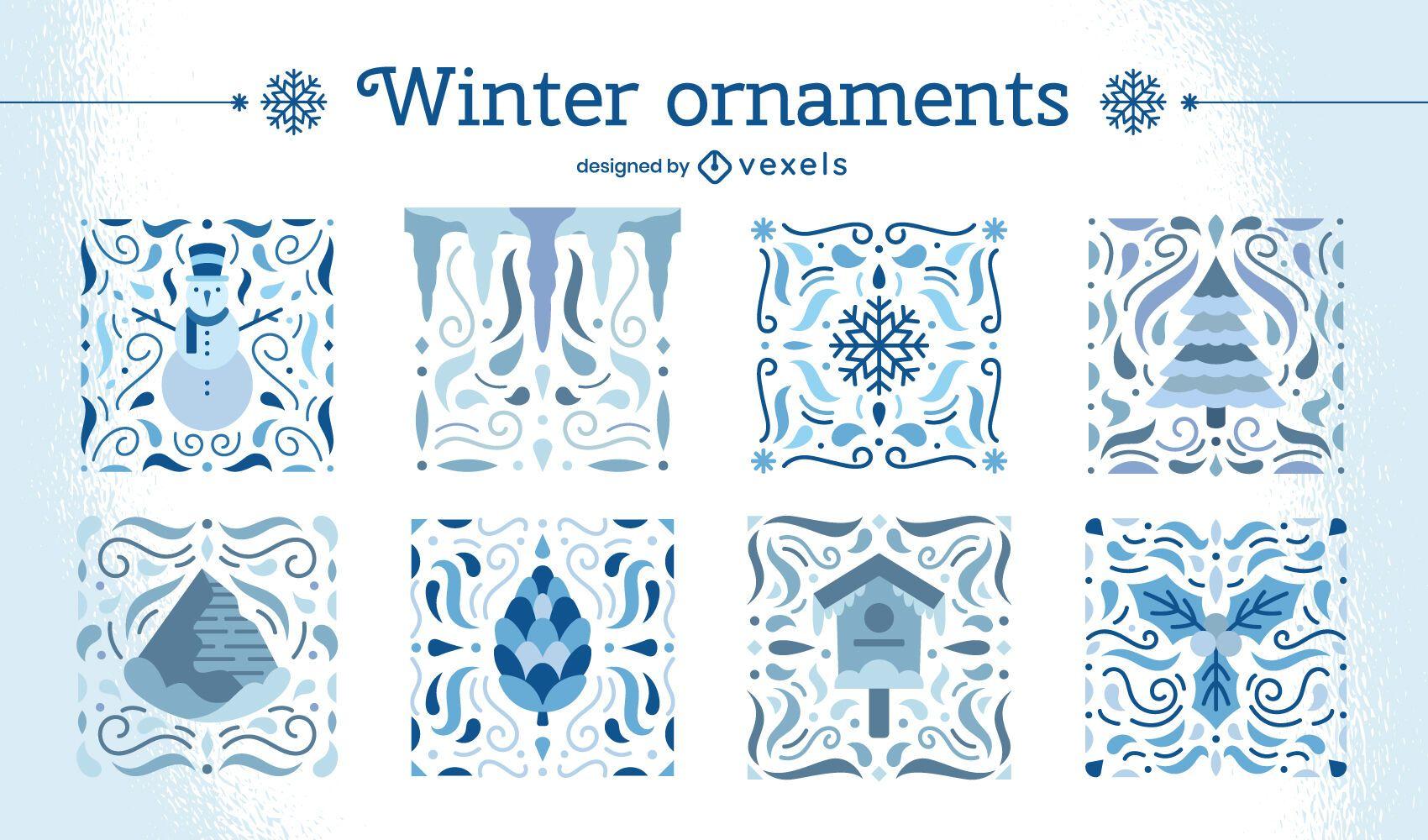 Conjunto de adornos de invierno