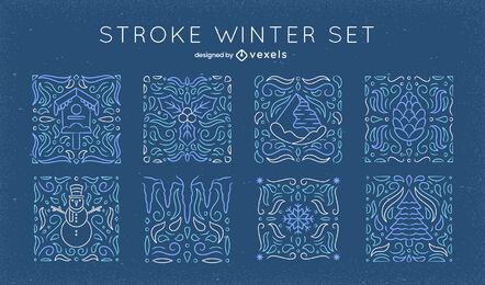 Winter elements mosaic line art set