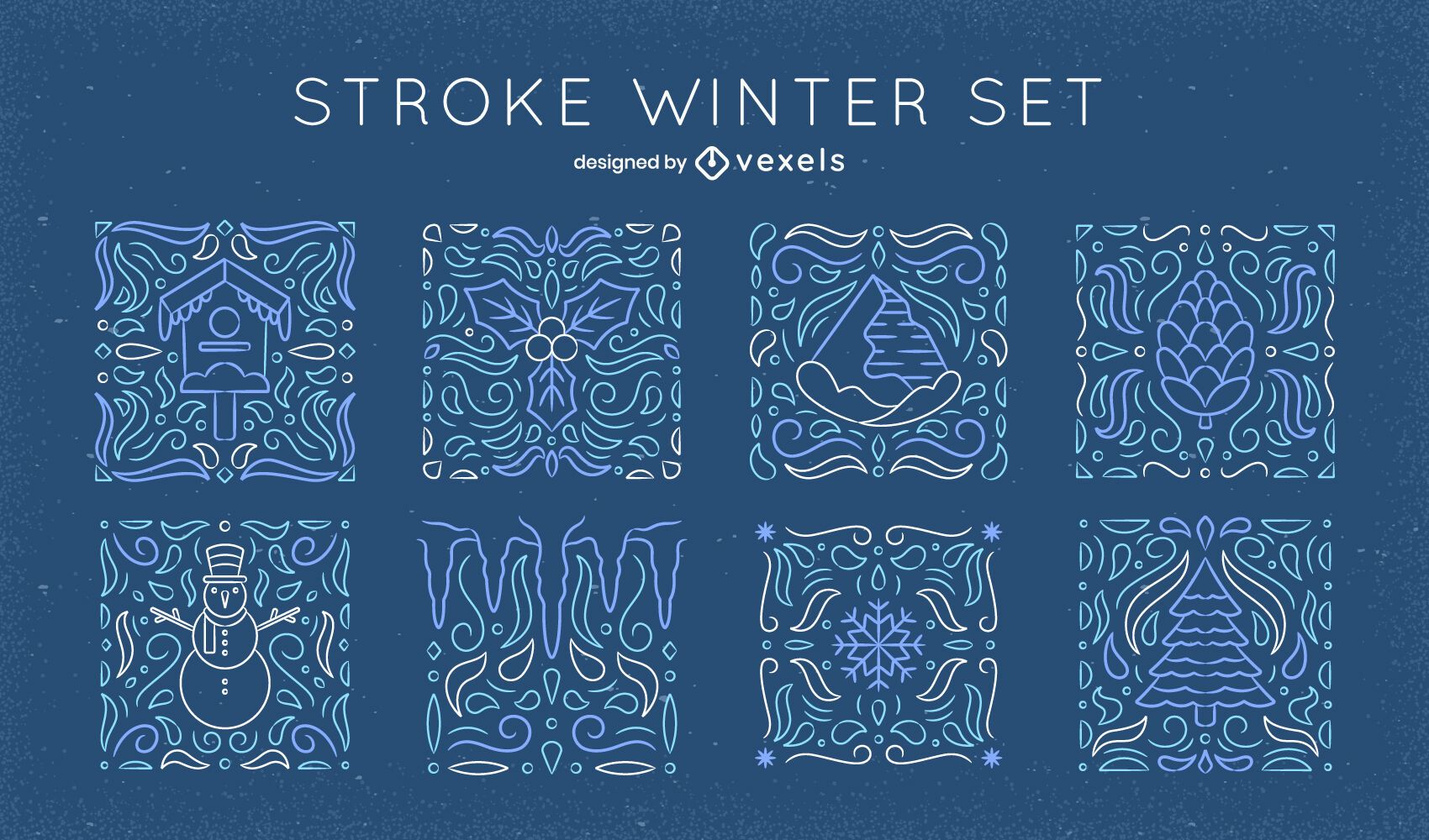 Conjunto de arte de línea de mosaico de elementos de invierno