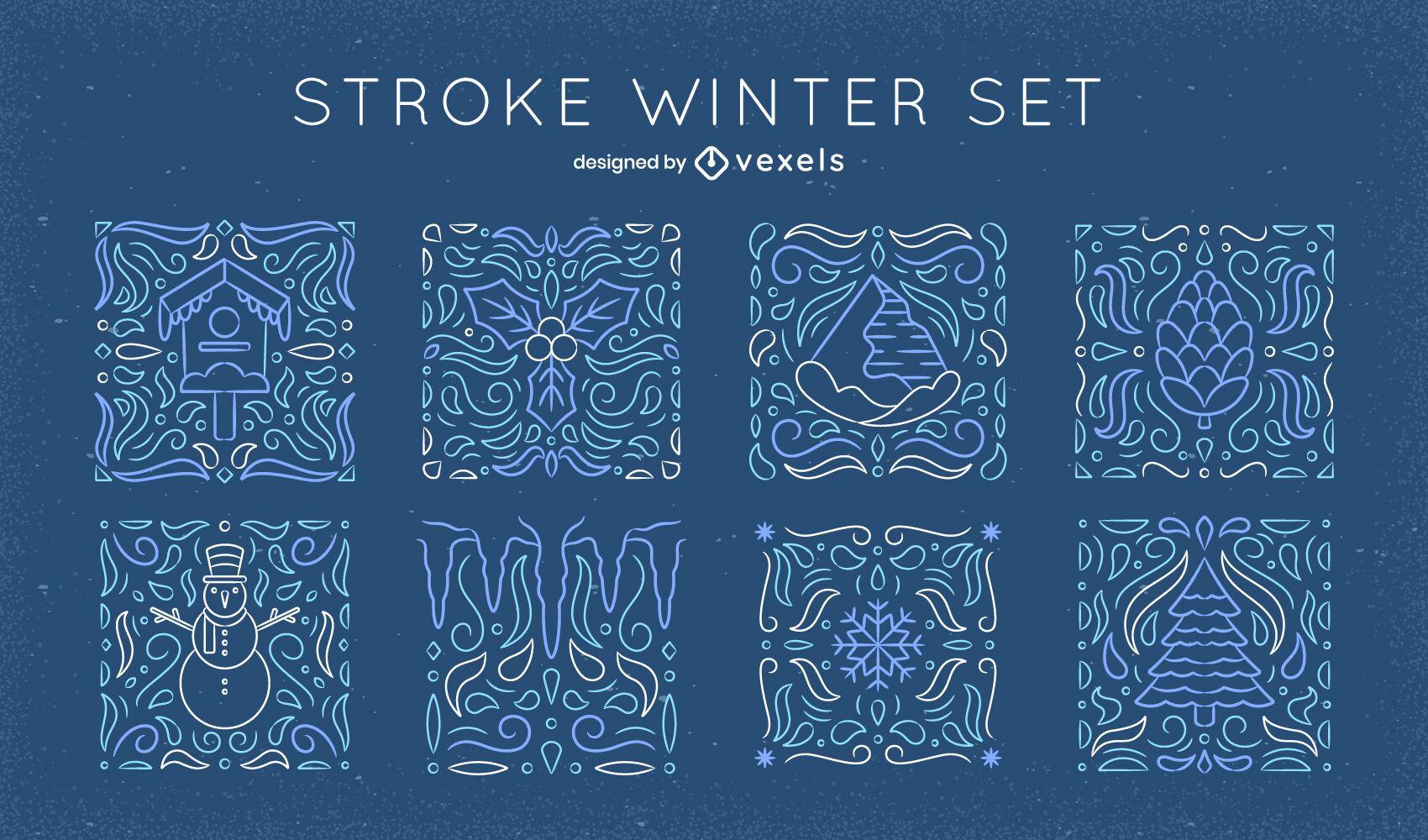 Winterelemente Mosaik-Linienkunstsatz
