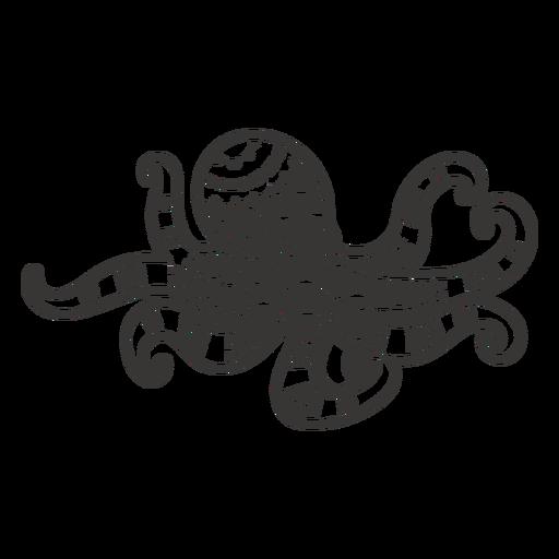 Mandala octopus black and white