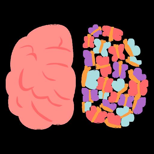 Brain with butterflies flat