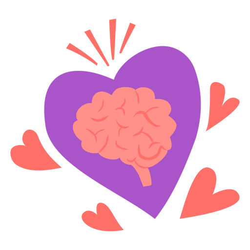 Brain with hearts flat