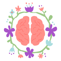 Brain with flower crown flat