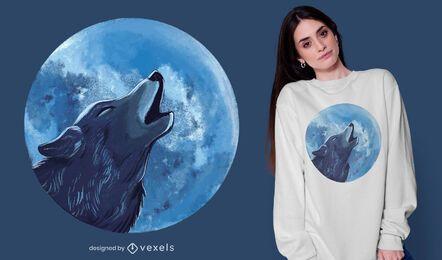 Desenho de camiseta com ilustração de lobo uivando